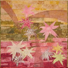 Tequila Sunrise Fiber Art by Julie R. Filatoff
