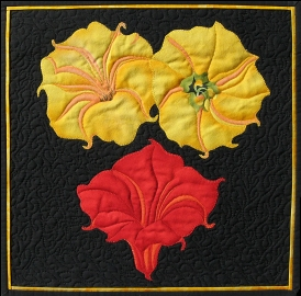 These Are Not Georgia's Flowers Fiber Art by Julie R. Filatoff