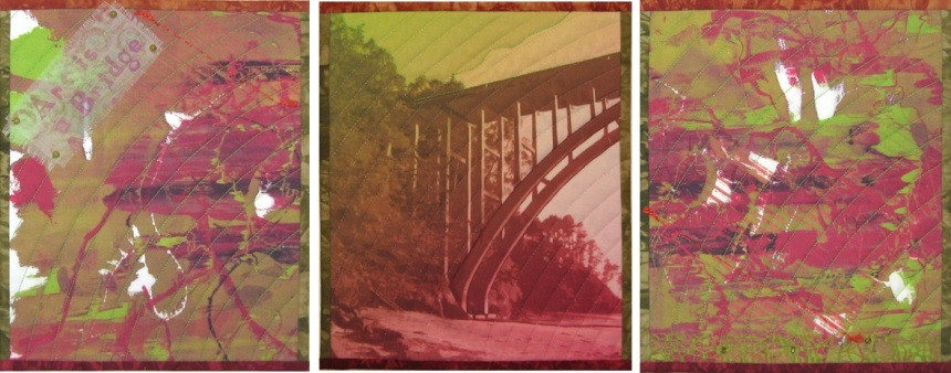 Art is a Bridge Art Quilt Triptych