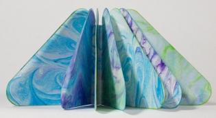 Triangular Marbled Paper Artist's Book