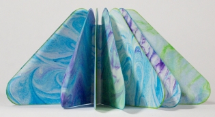 Triangular Marbled Paper Artist's Book